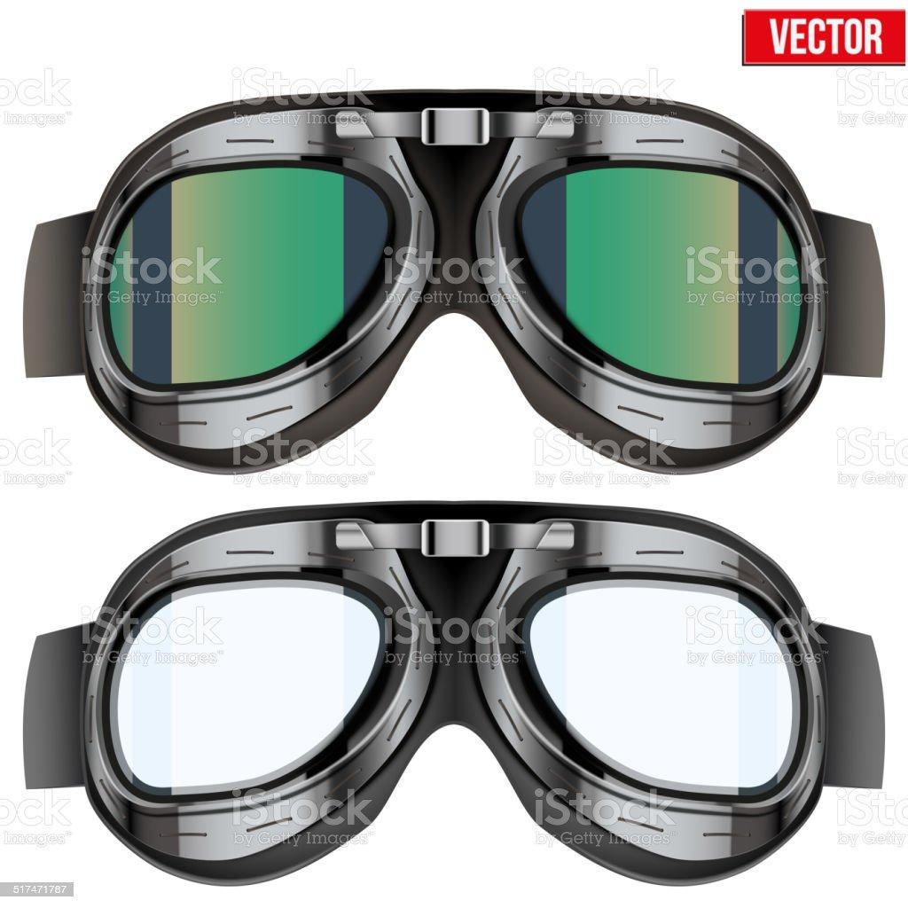 Retro aviator pilot glasses goggles. Isolated on white vector art illustration