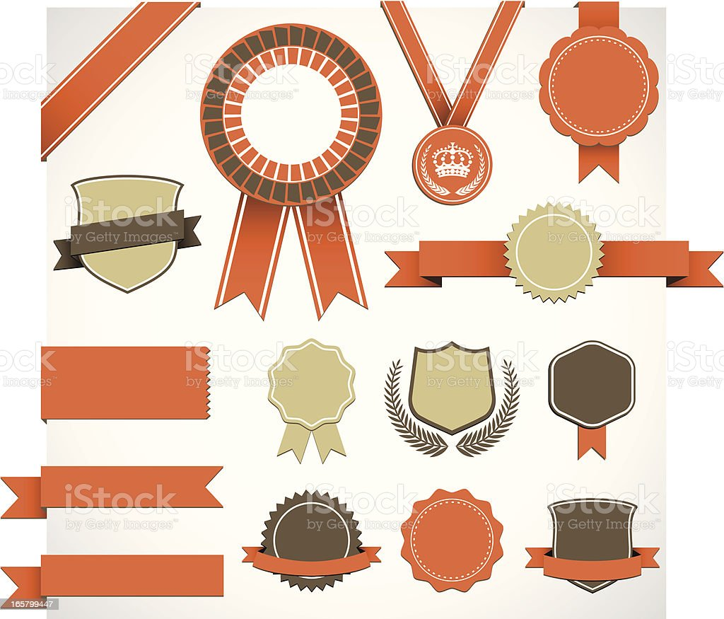 Retro Award Elements Set royalty-free stock vector art