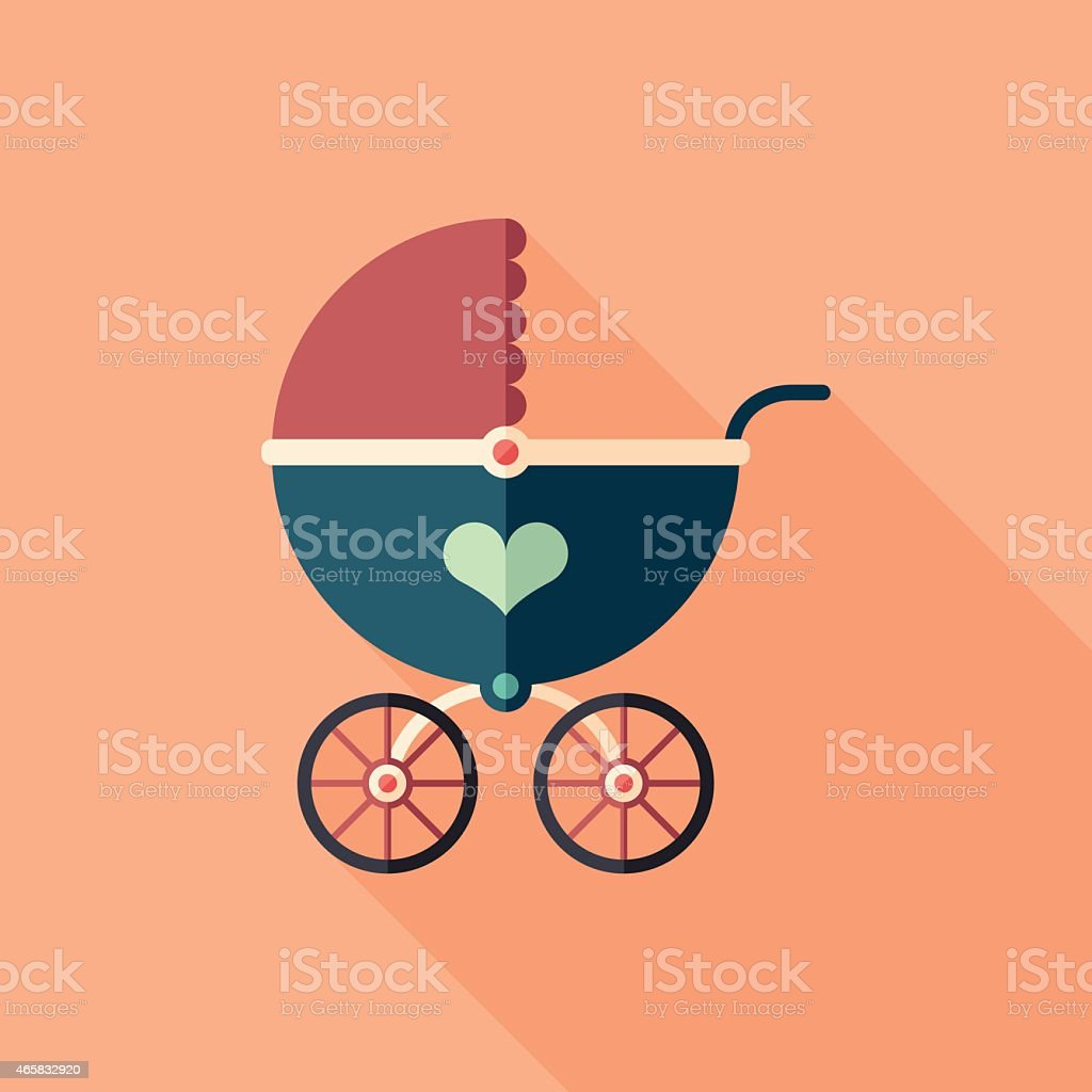 Retro baby stroller flat square icon with long shadows. vector art illustration