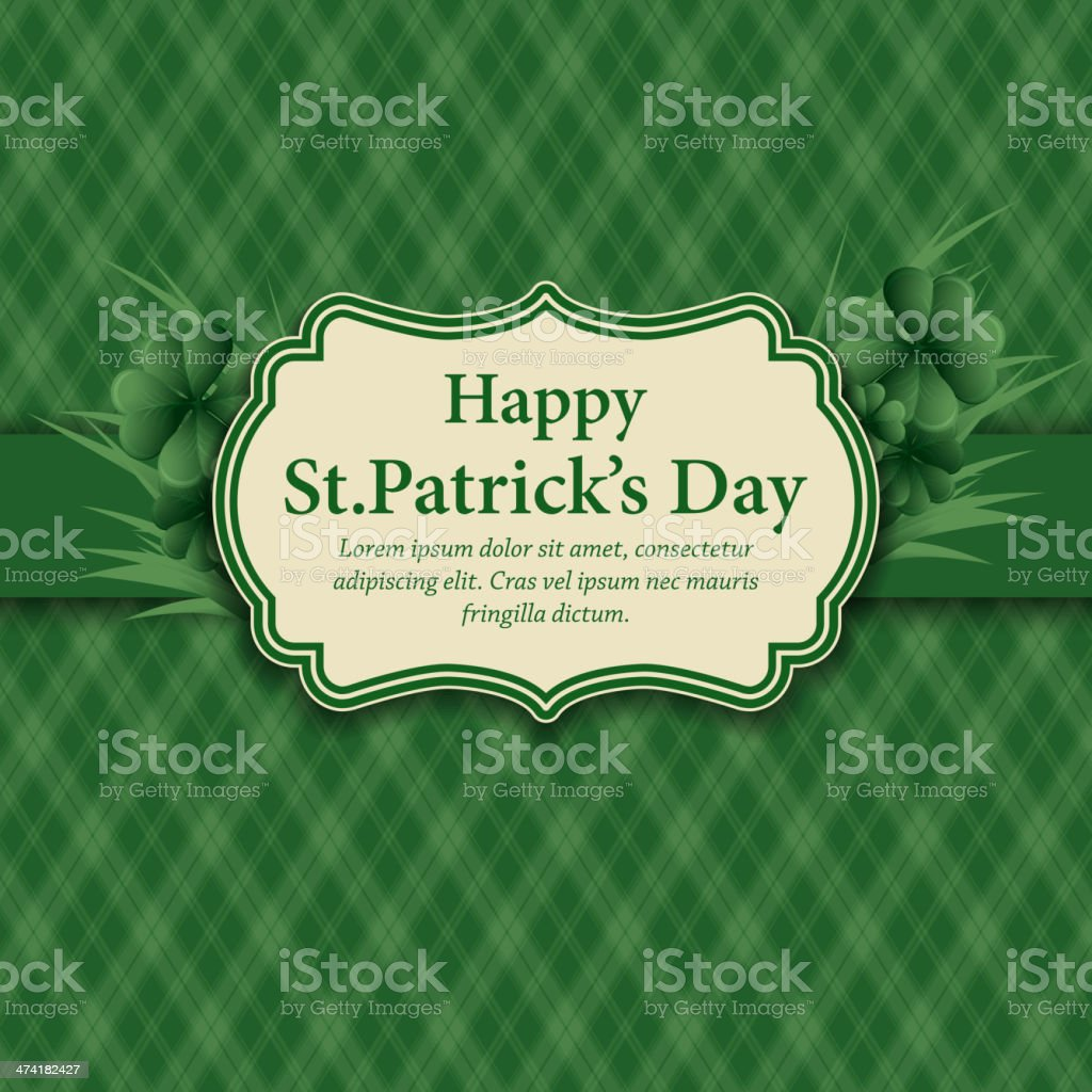 Retro background for St. Patrick's Days vector art illustration