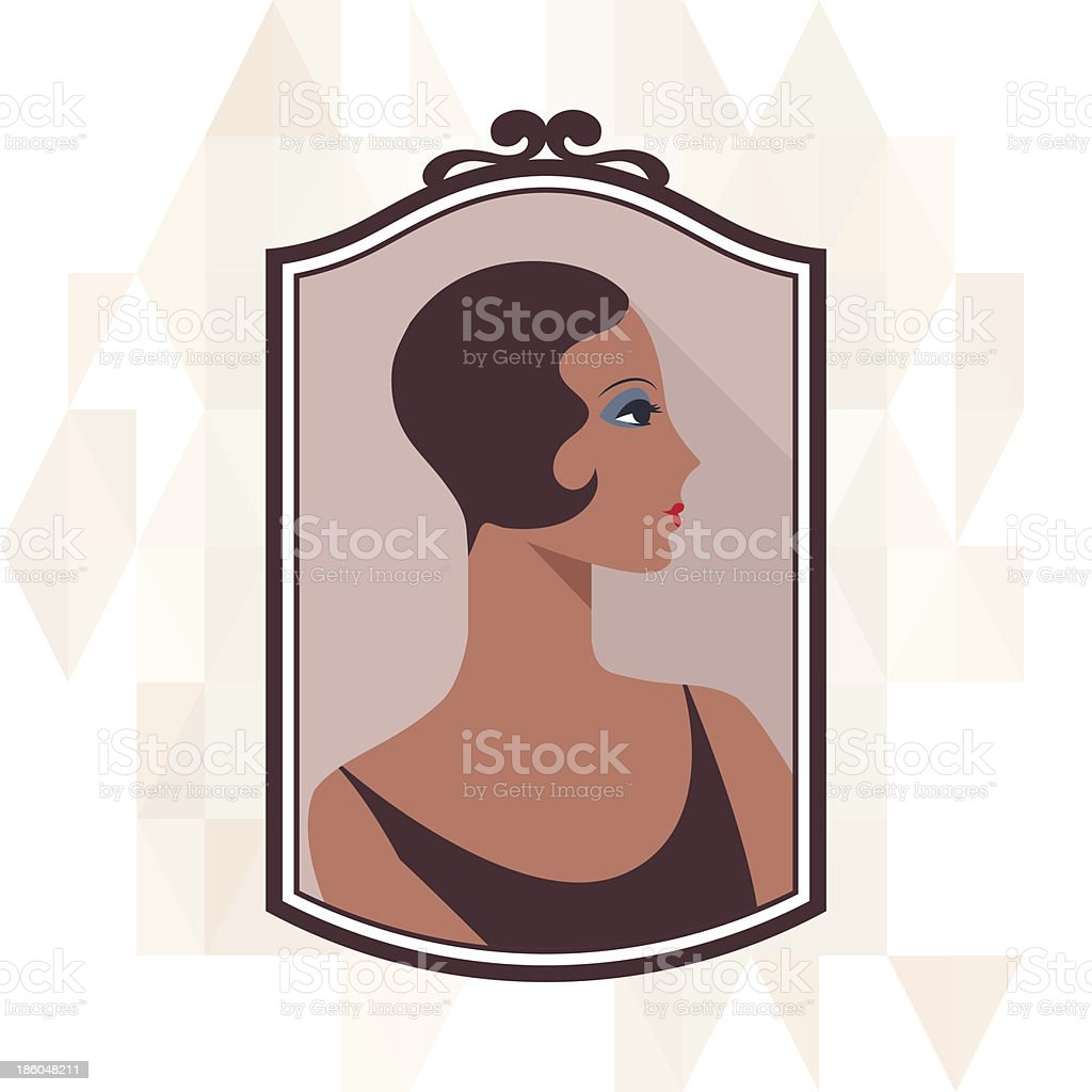 Retro background with beautiful girl of 1920s style. vector art illustration