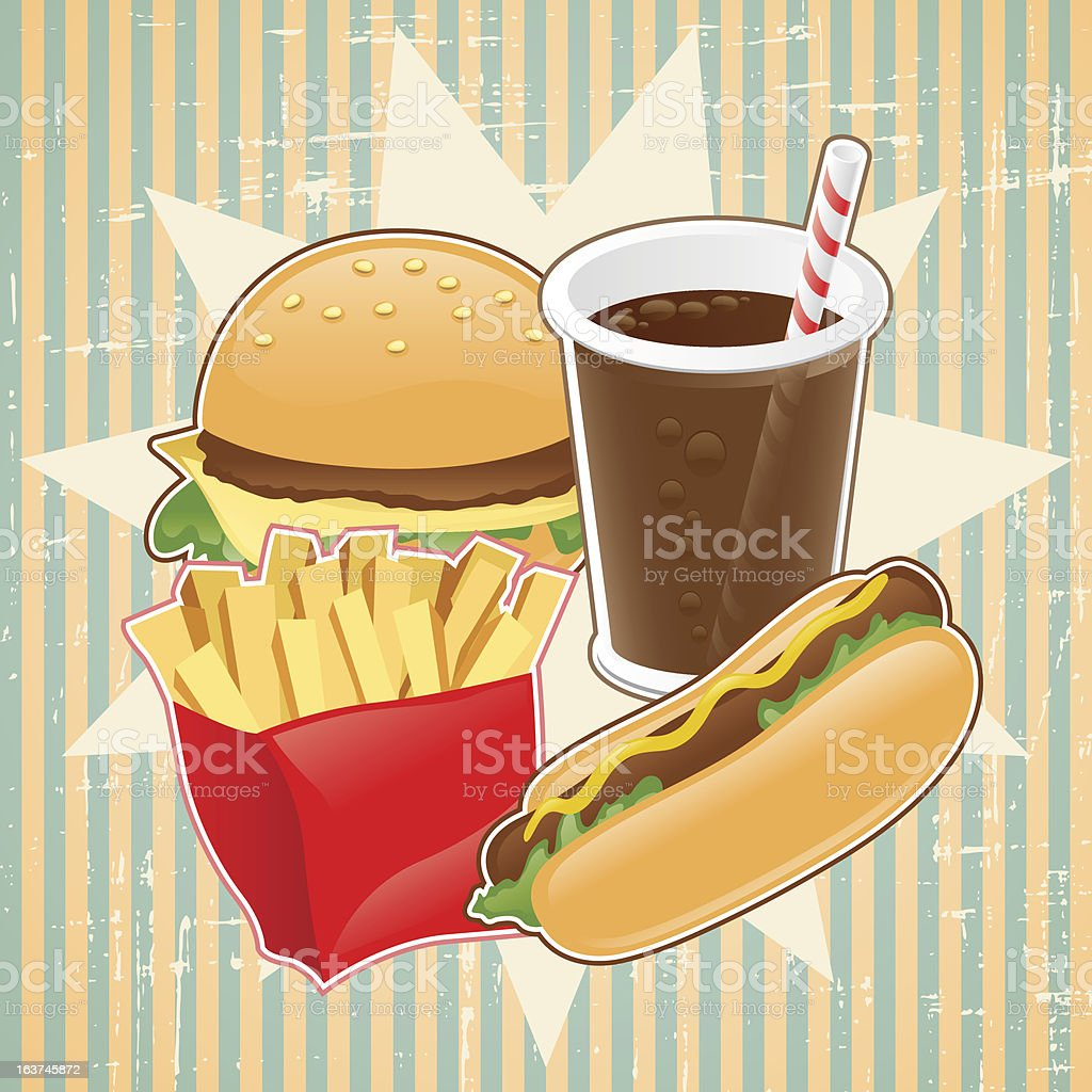 Retro background with fast food. royalty-free stock vector art