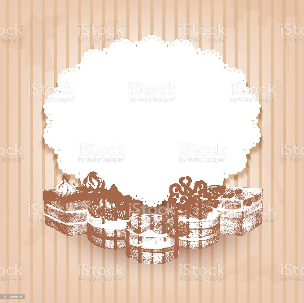 Retro background with hand drawn cakes vector art illustration