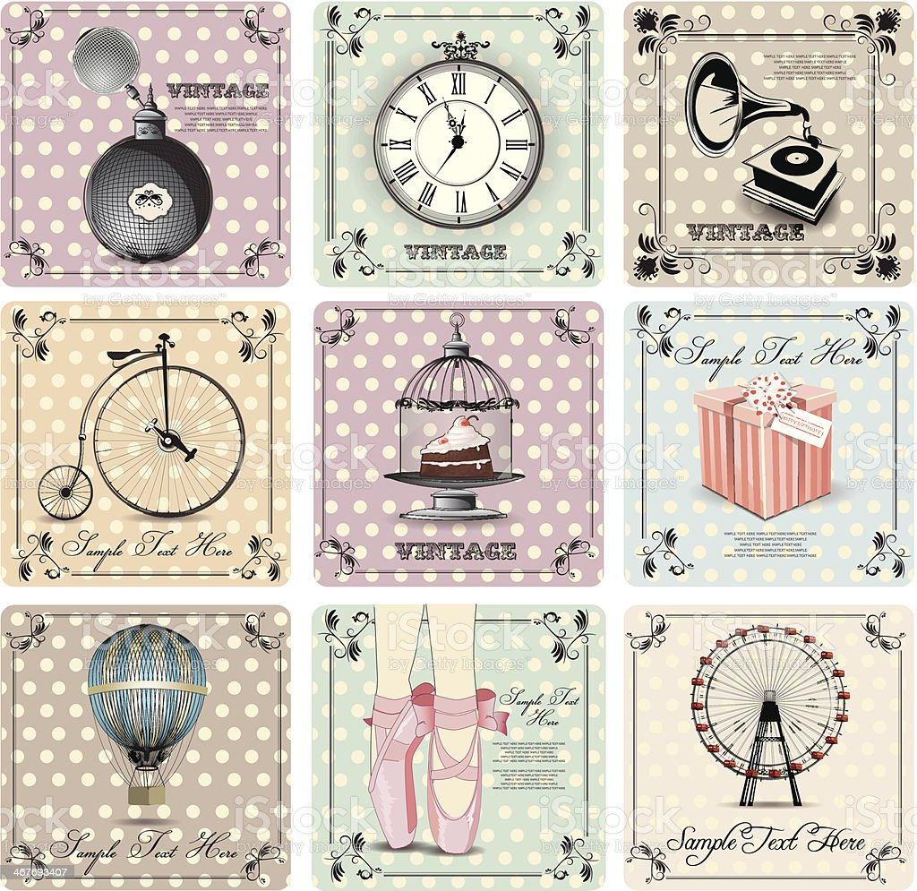 retro backgrounds and vintage labels royalty-free stock vector art
