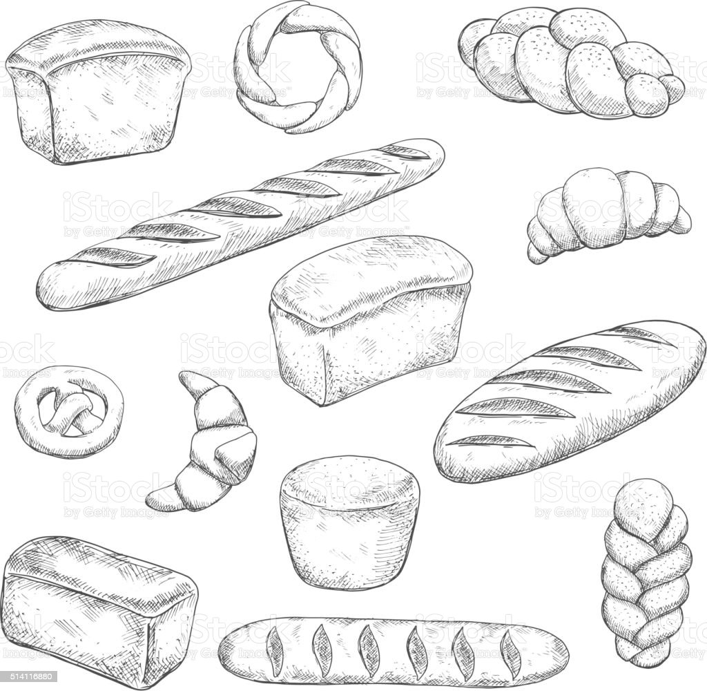 Retro bakery and pastry sketches vector art illustration