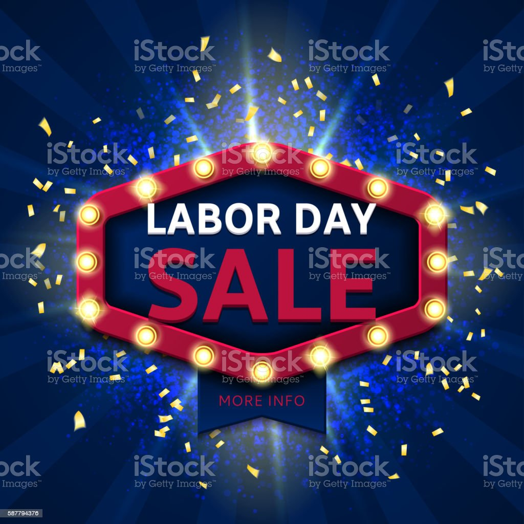 Retro banner for labor day sale royalty-free stock vector art