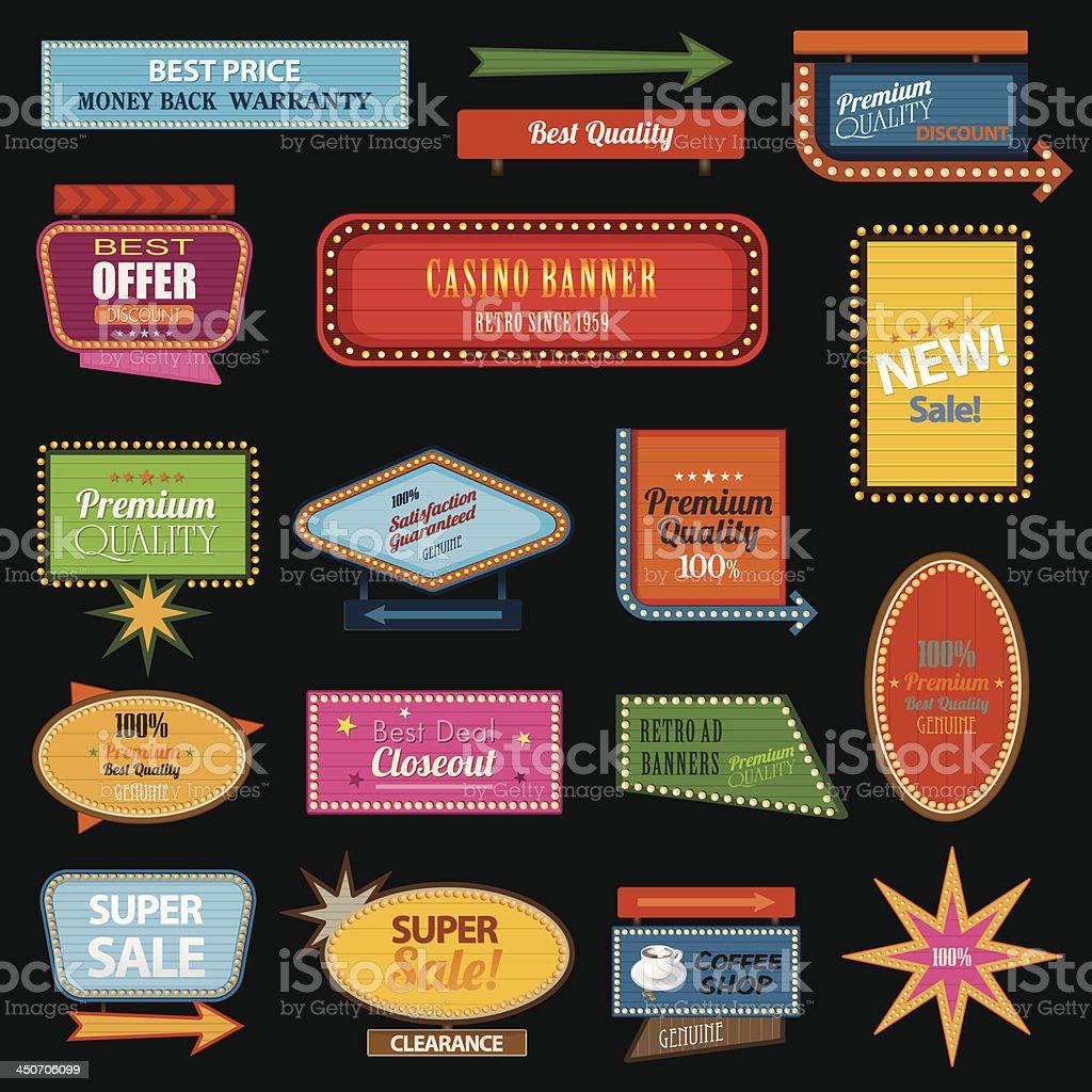 Retro banner motel sign vector art illustration