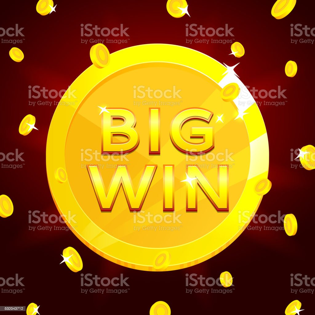 Retro banner of big win with golden coins royalty-free stock vector art