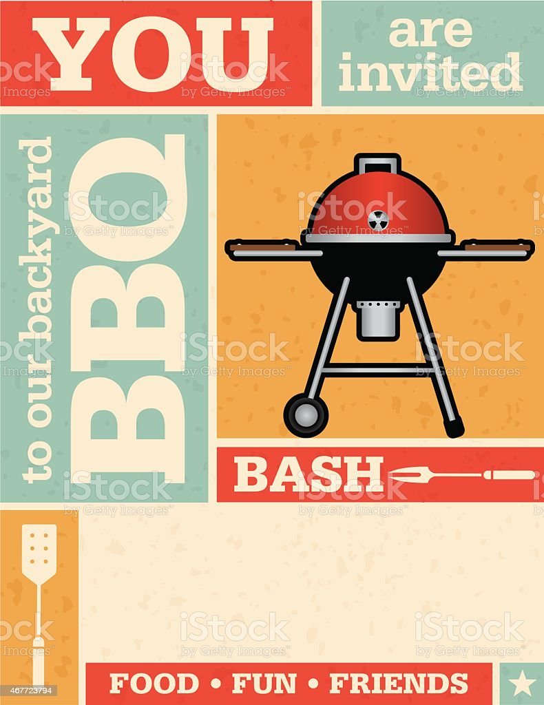 Retro Barbecue Invitation vector art illustration