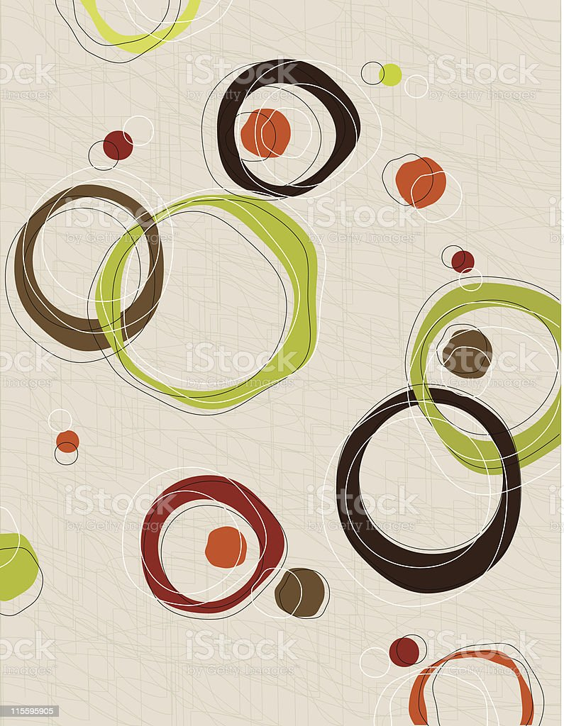 Retro barkcloth circles vector art illustration