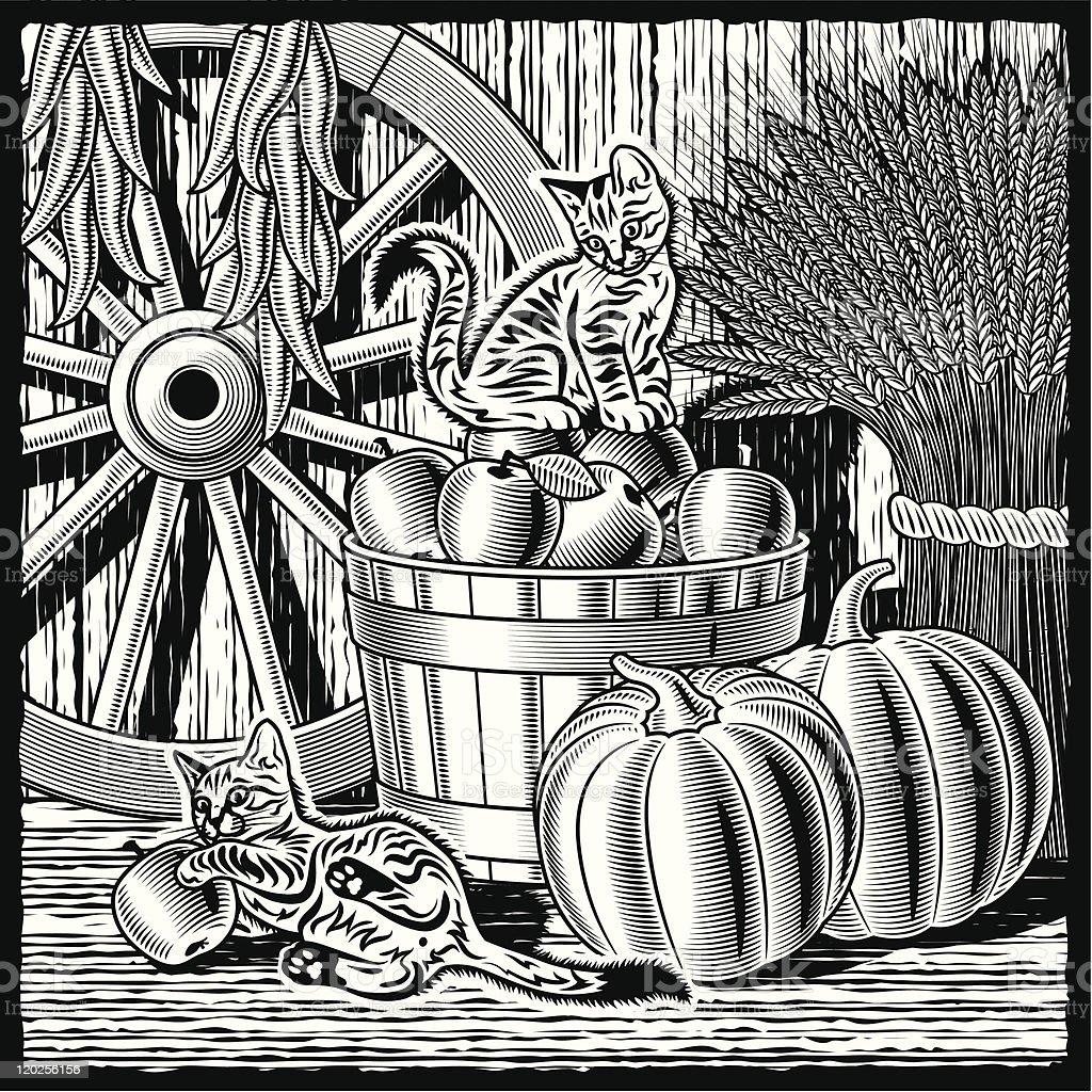 Retro barn with harvest black and white vector art illustration