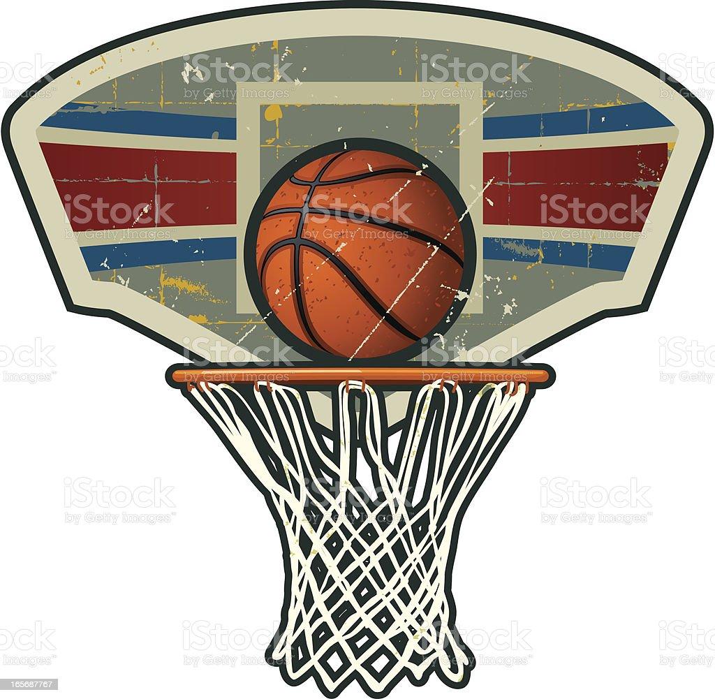 Retro Basketball Hoop with Net vector art illustration