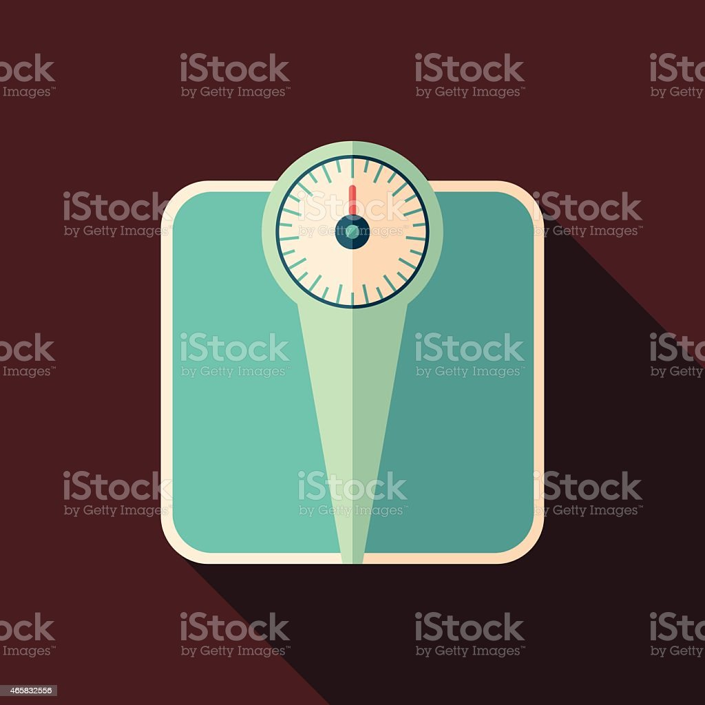 Retro bathroom scales flat square icon with long shadows. vector art illustration