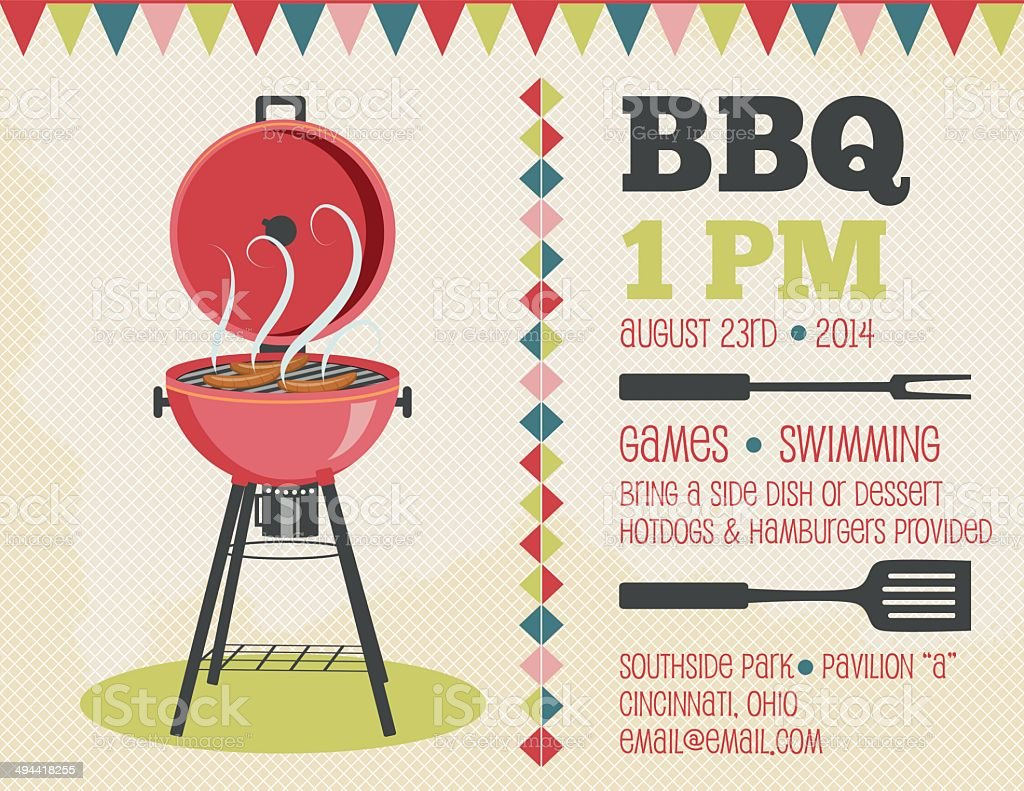 Retro BBQ Invitation Template vector art illustration