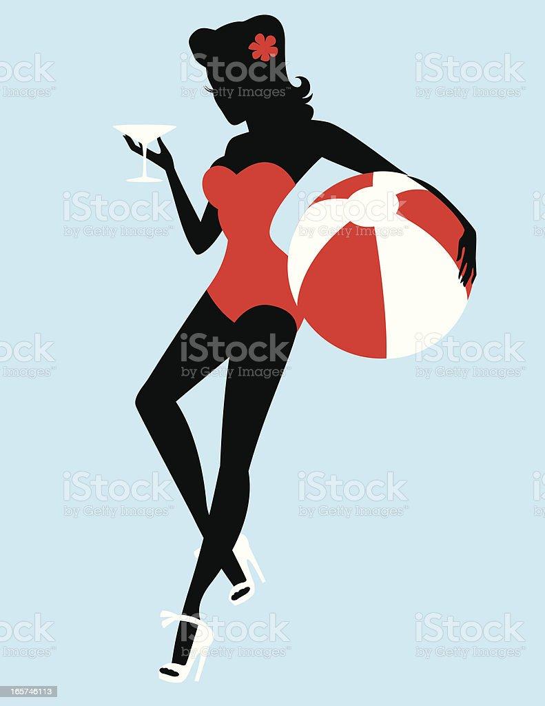 Retro beach girl Silhouette vector art illustration