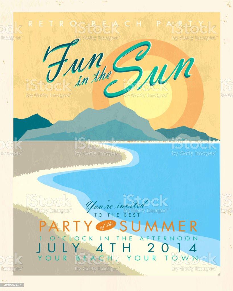 Retro Beach party template invitation design vector art illustration