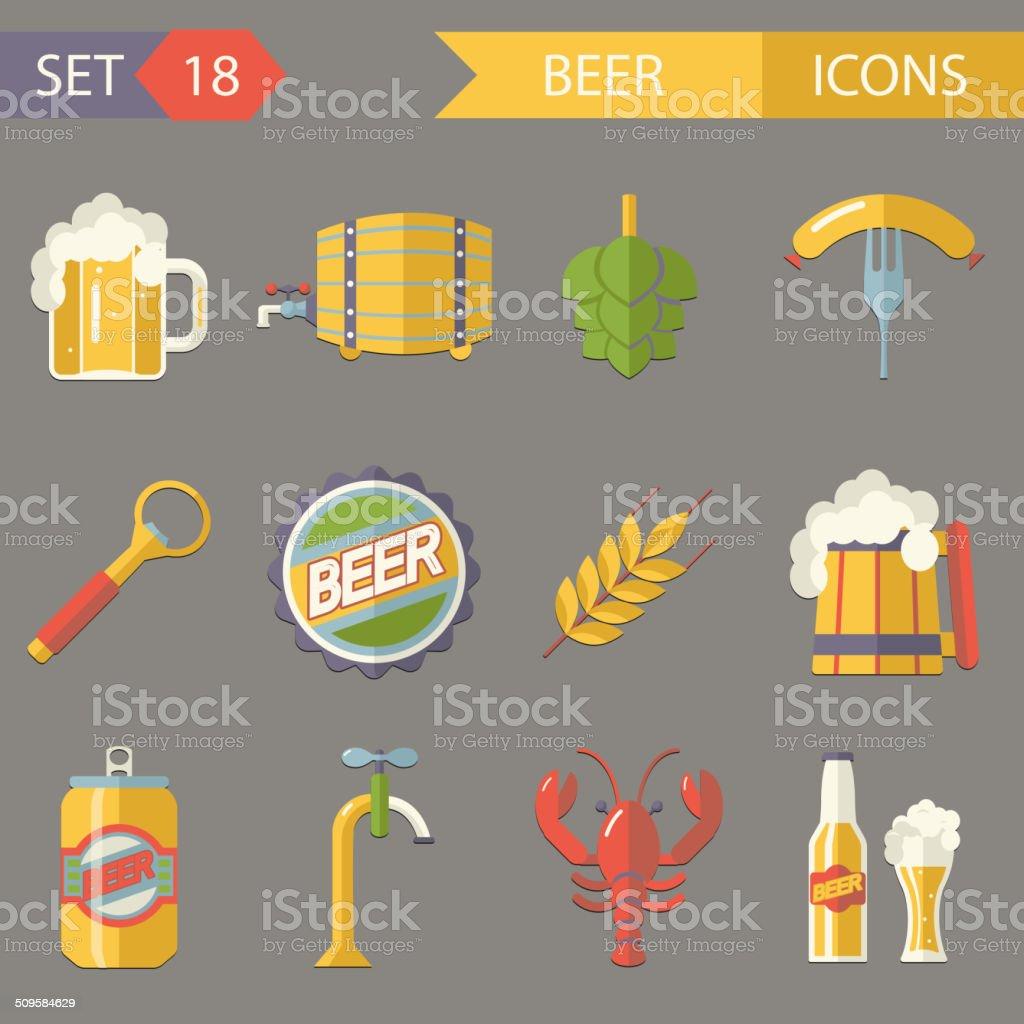 Retro Beer Alcohol Symbols  Vector Illustration vector art illustration