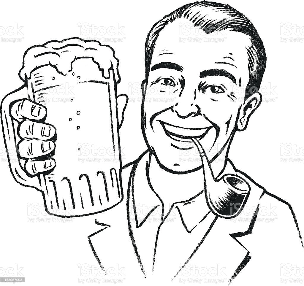 retro Beer, Pipe, Suit, and a million dollar smile vector art illustration