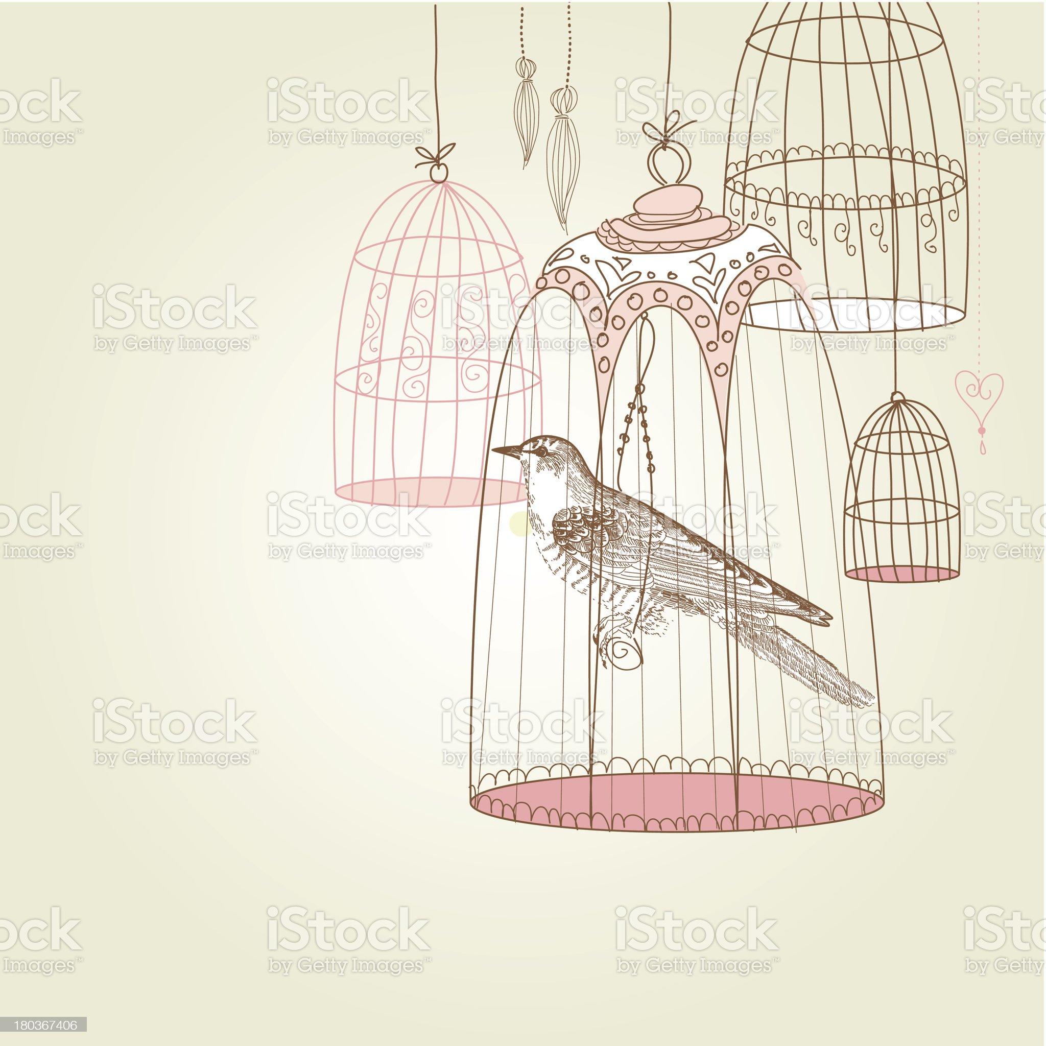 Retro Bird and Birdcage royalty-free stock vector art