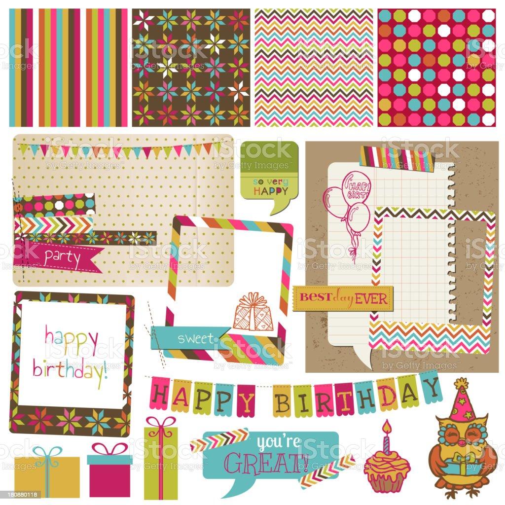 Retro Birthday Celebration Design Elements vector art illustration