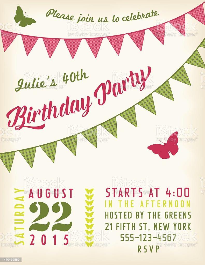 retro geburtstag partyeinladung vorlage mit bunting flags und text, Kreative einladungen