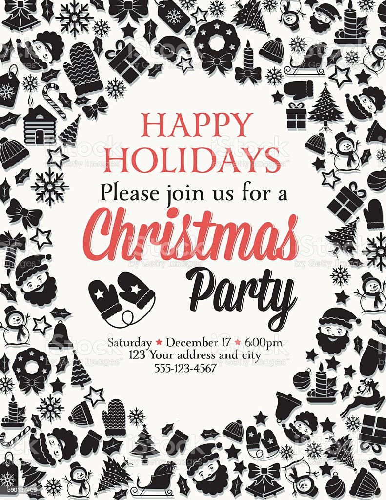 retro black and red christmas party invitation template のイラスト
