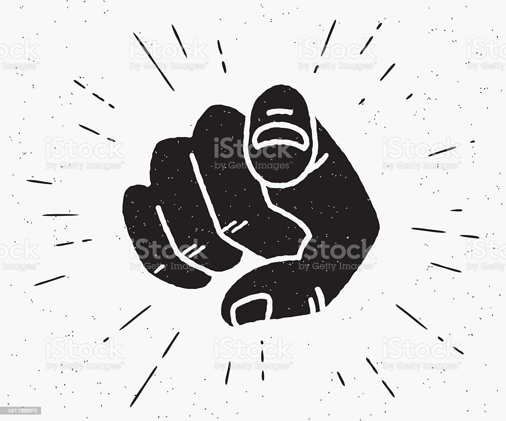 Retro black hand pointing finger vector art illustration
