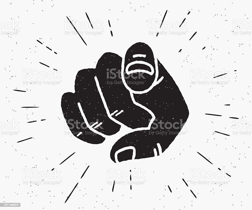 Retro black hand pointing finger vector art illustration