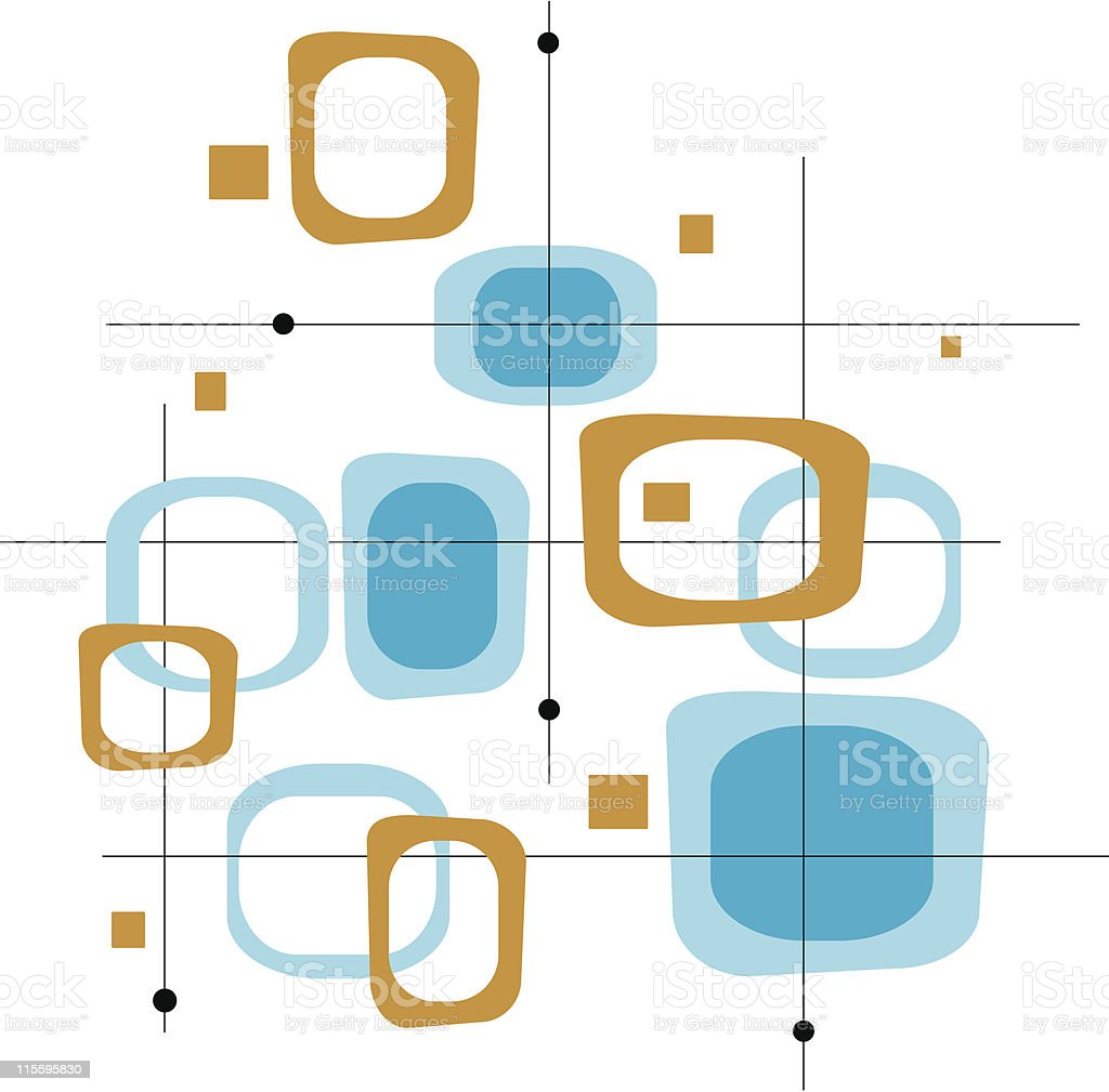 Retro Blue and Brown Squares (Vector) vector art illustration