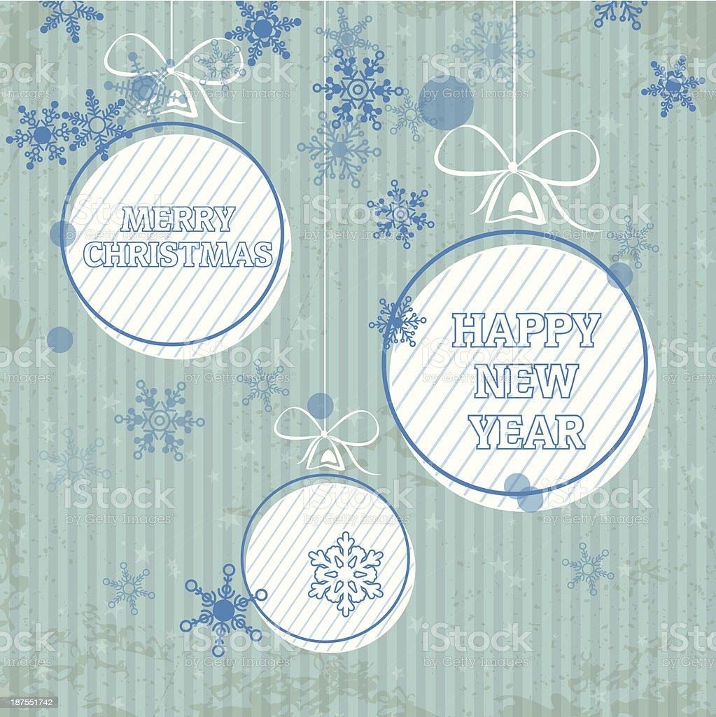 retro blue balls with snowflakes royalty-free stock vector art