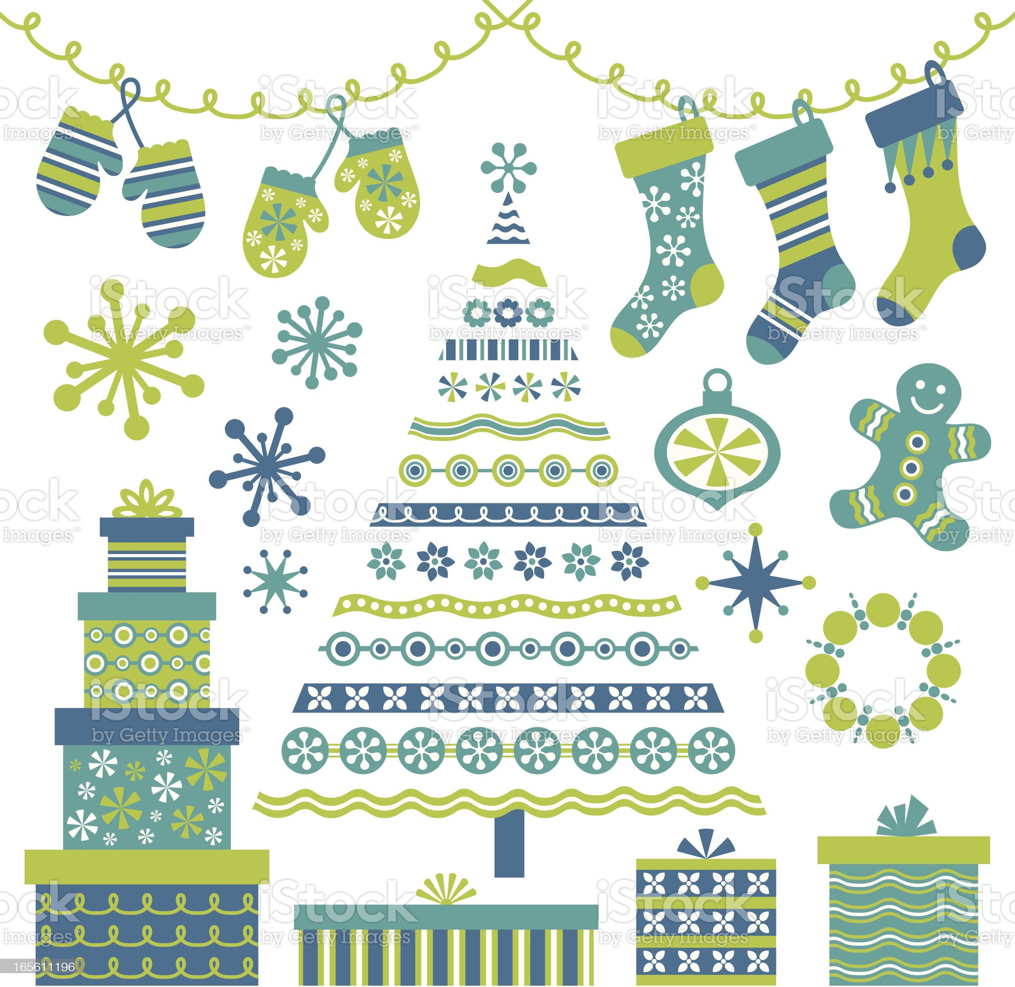 Retro Blue Christmas Tree and Design Elements royalty-free stock vector art