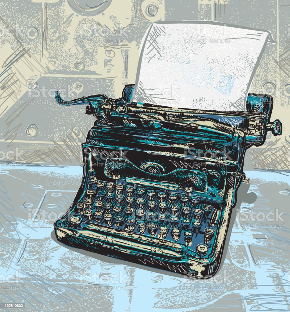 Retro blue typewriter with paper vector art illustration