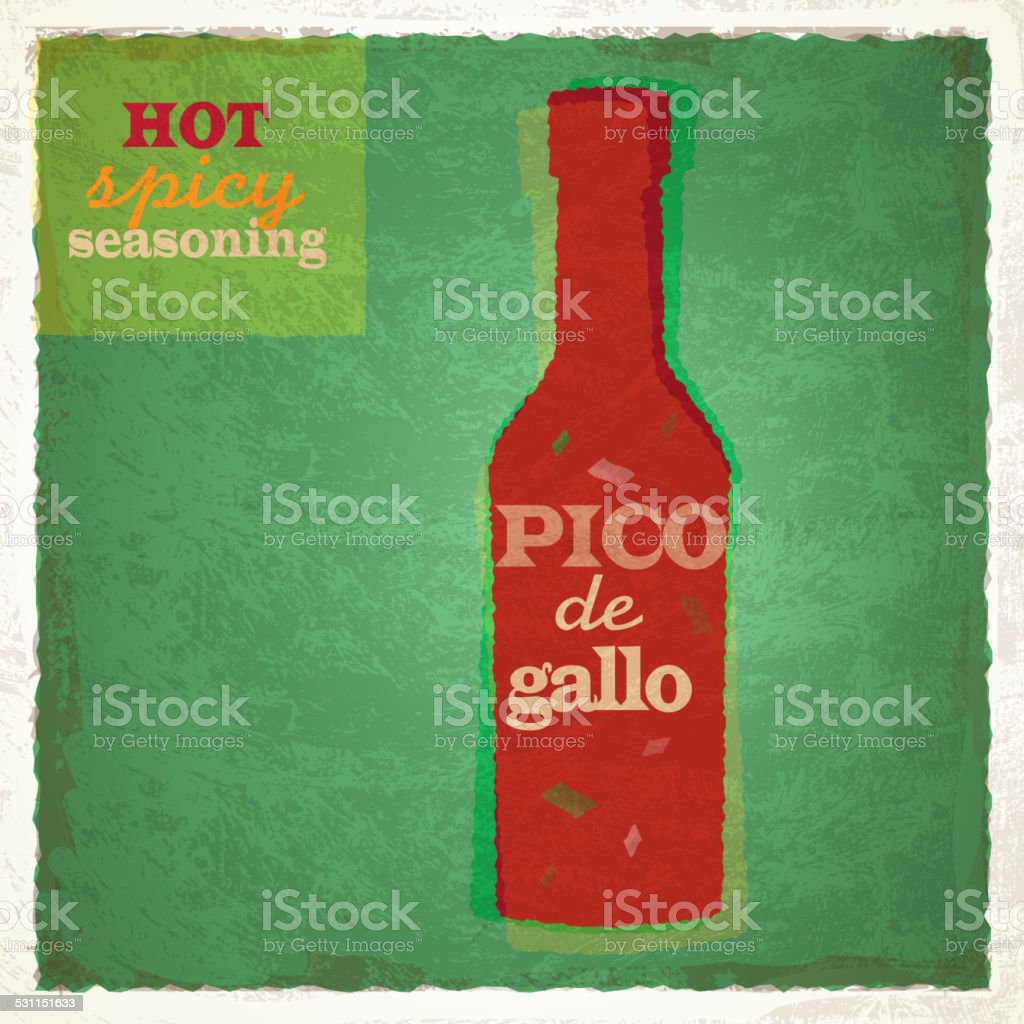 Retro bottle of Pico de gallo seasoning sauce vector art illustration