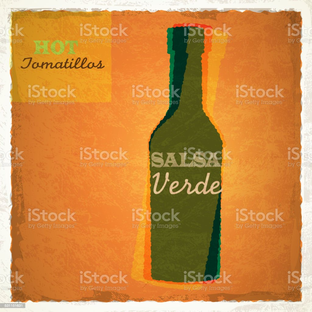 Retro bottle of Salsa Verde with green chilis vector art illustration