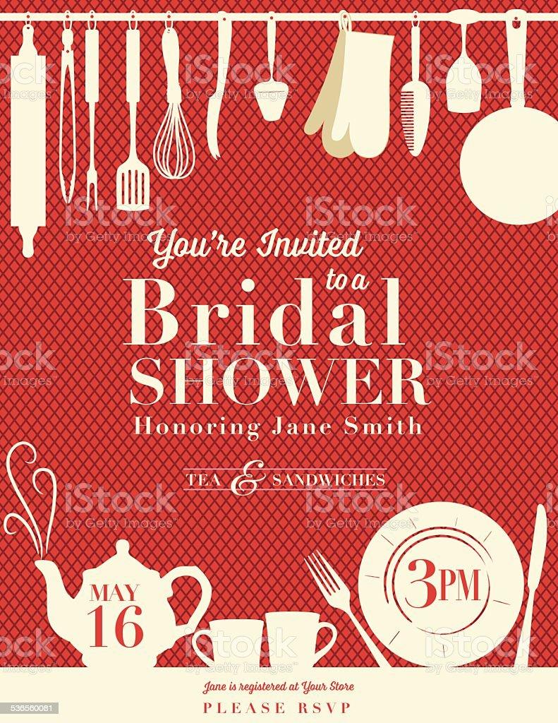 Kitchen Shower Retro Bridal Shower Invitation With Kitchen Gadgets Stock Vector