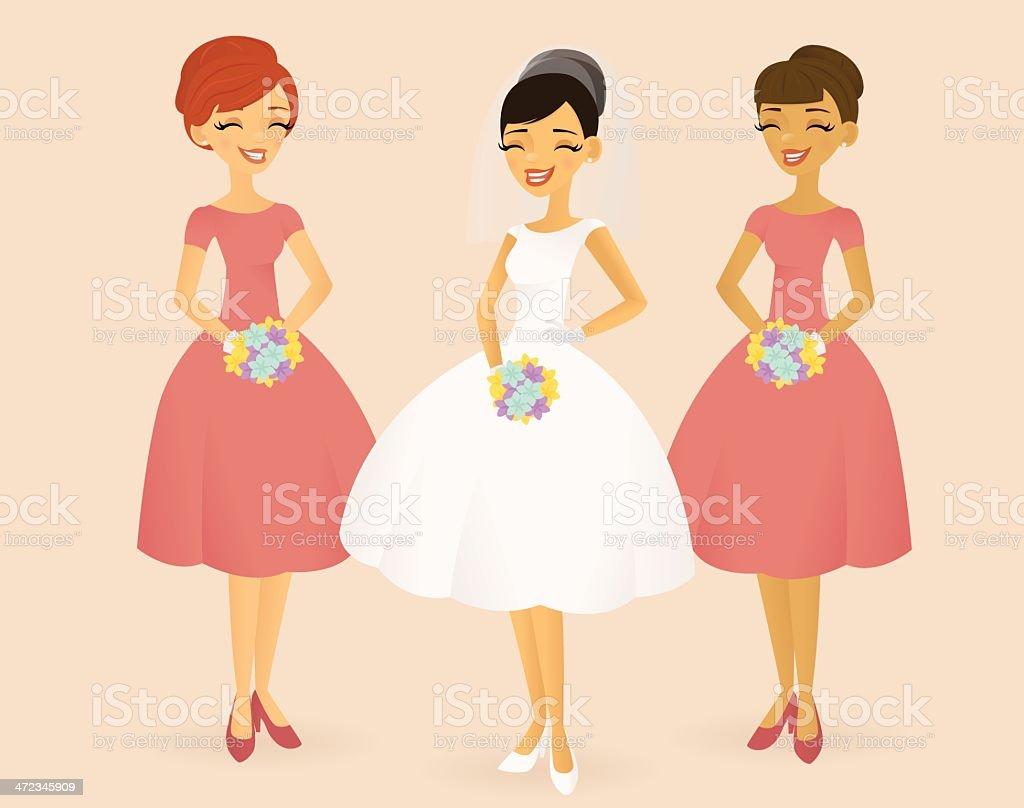 Retro Bride and Bridesmaids vector art illustration
