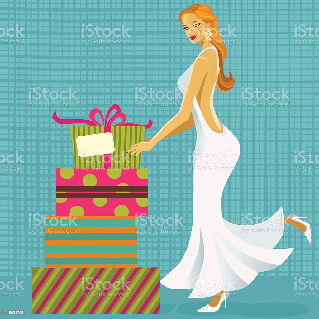 Retro Bride with Gifts. royalty-free stock vector art