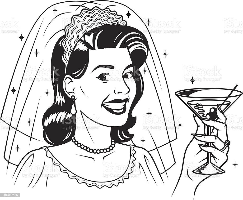 Retro Bride With Martini royalty-free stock vector art