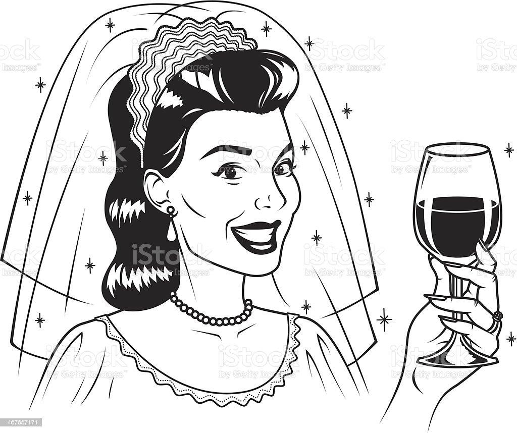 Retro Bride with Wine royalty-free stock vector art