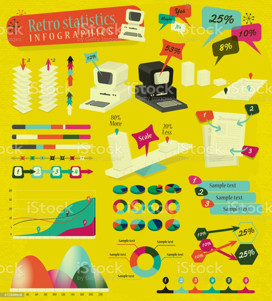Retro bright colors styled computer and statistic infographics elements royalty-free stock vector art