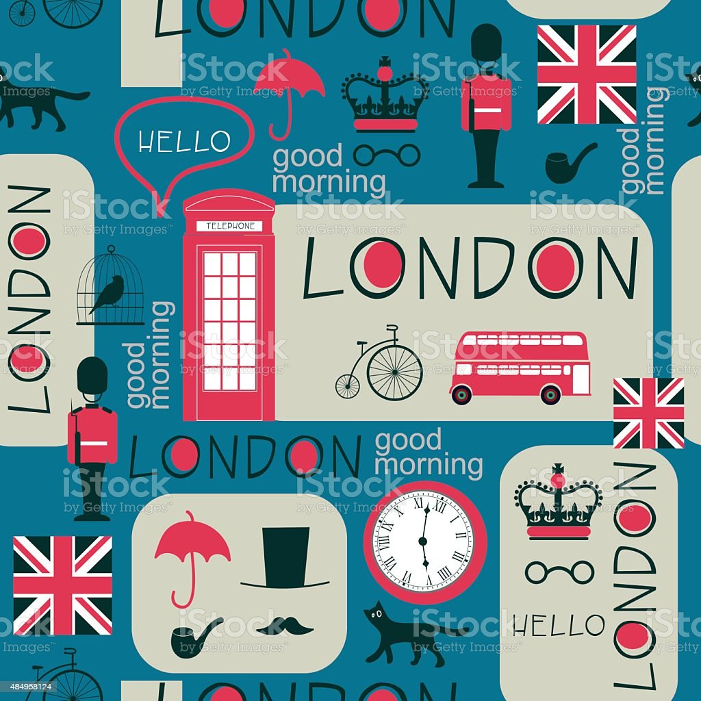 retro british newspaper seamless pattern vector art illustration