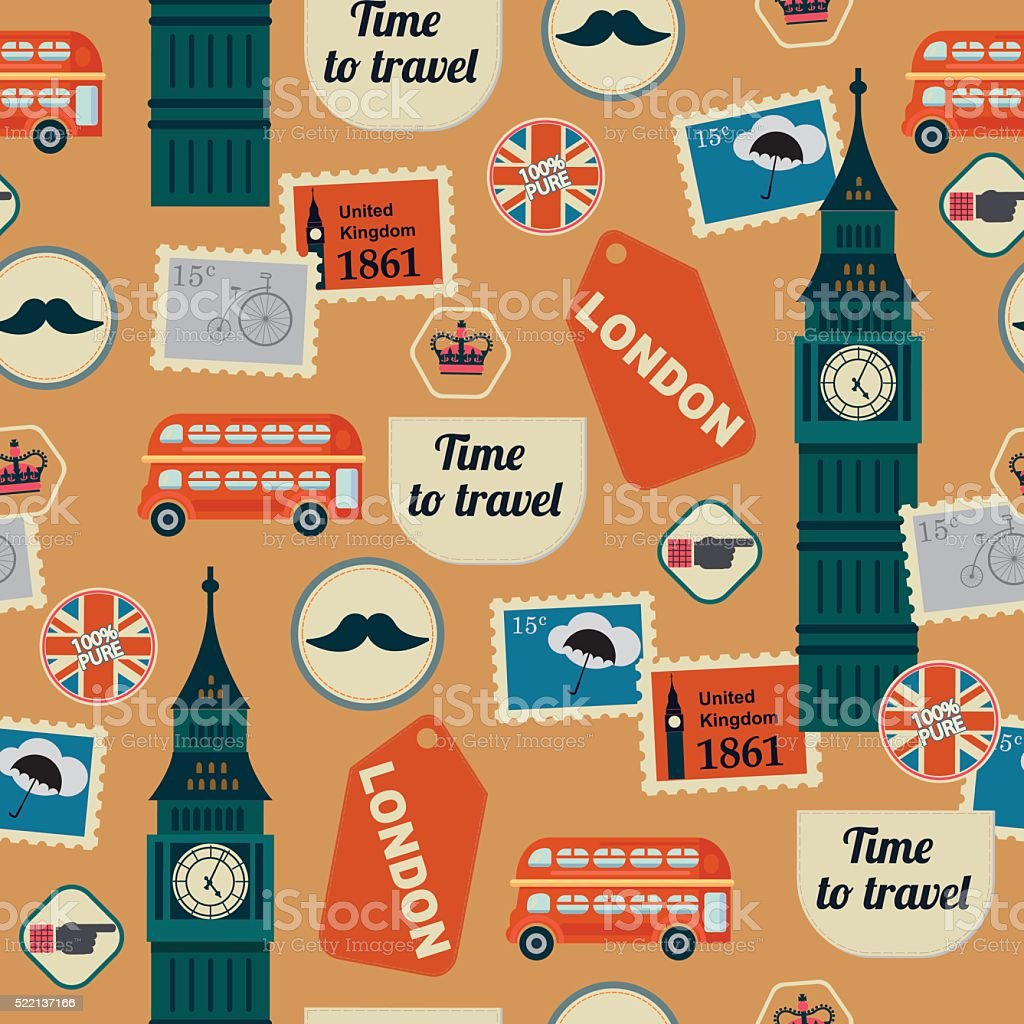 retro british seamless pattern with Big Ben vector art illustration