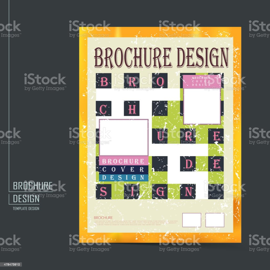 Retro Brochure Template Design stock vector art 478475910 – Retro Brochure Template