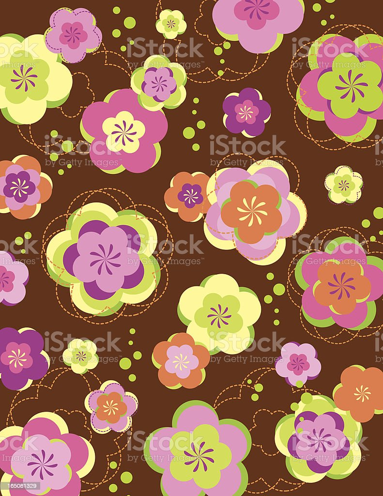 Retro Bubbly Flowers royalty-free stock vector art