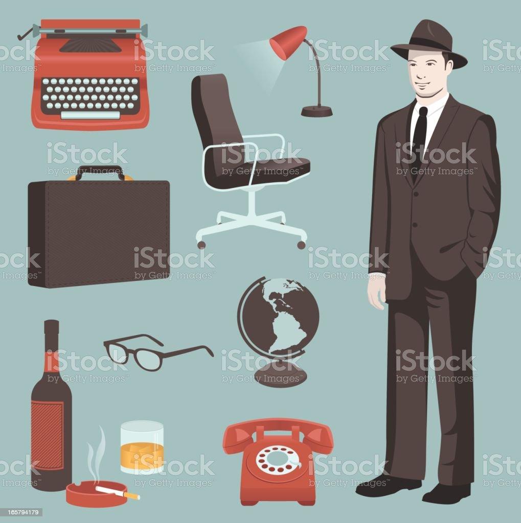 Retro Business Elements vector art illustration