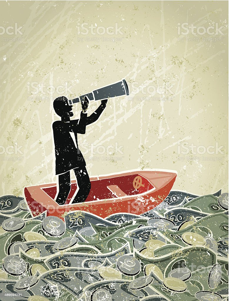 Retro,  Businessman Looking Through Telescope in a Sea of Money vector art illustration