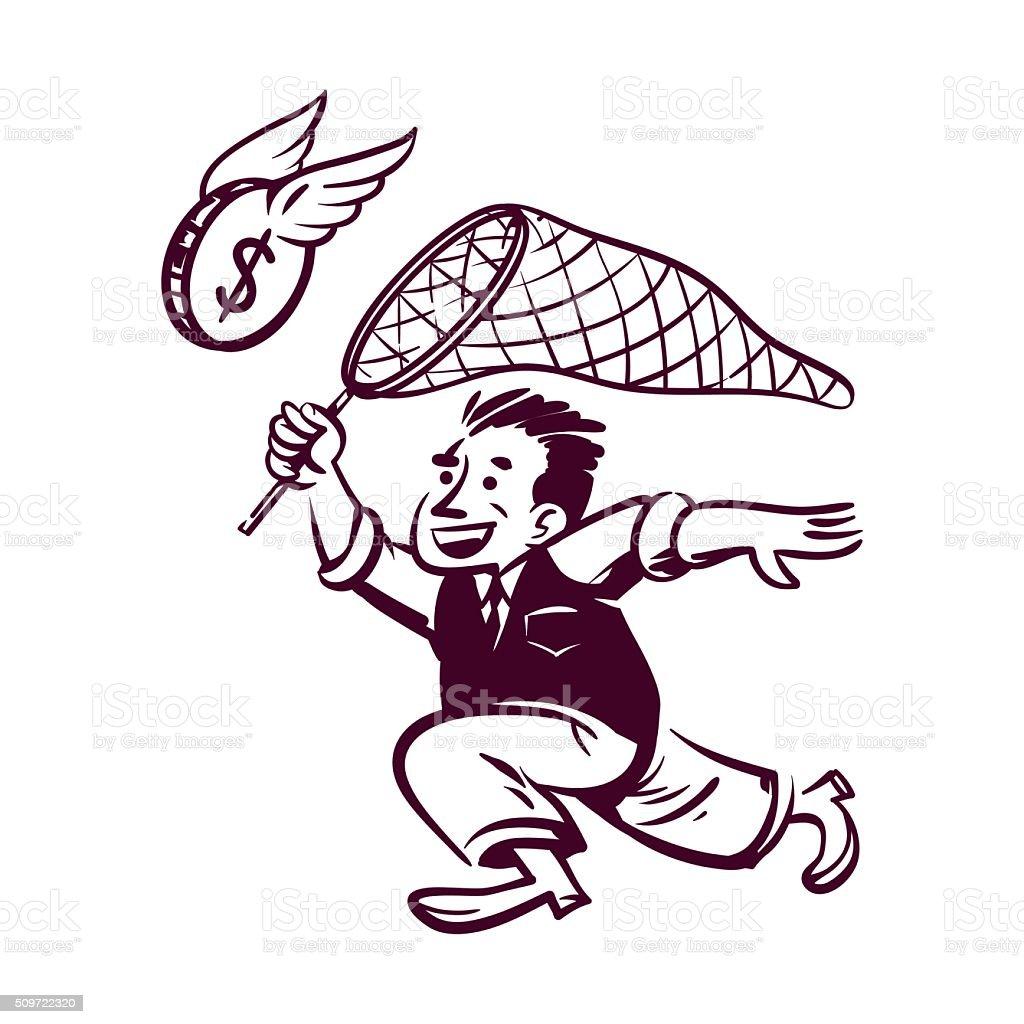 Retro businessman vector art illustration