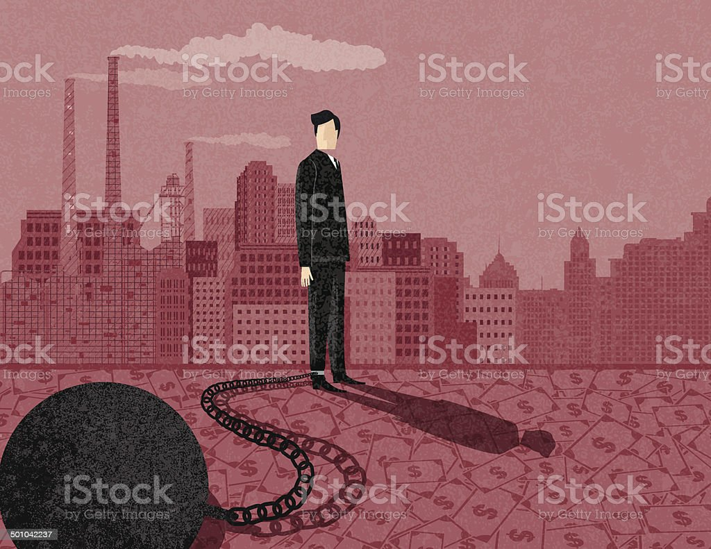 Retro Businessman With Ball and Chain vector art illustration