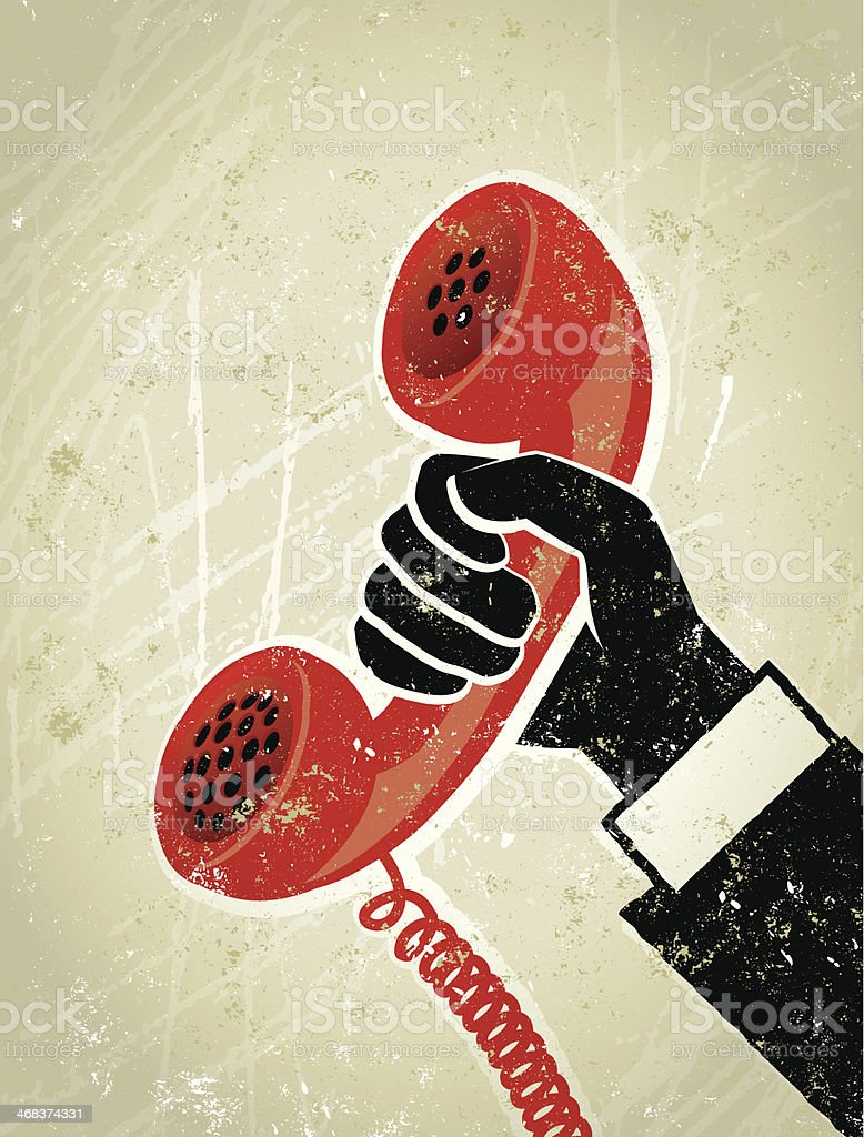 Retro,  Businessman's Hand Holding an Old Fashioned Telephone Receiver Illustration royalty-free stock vector art