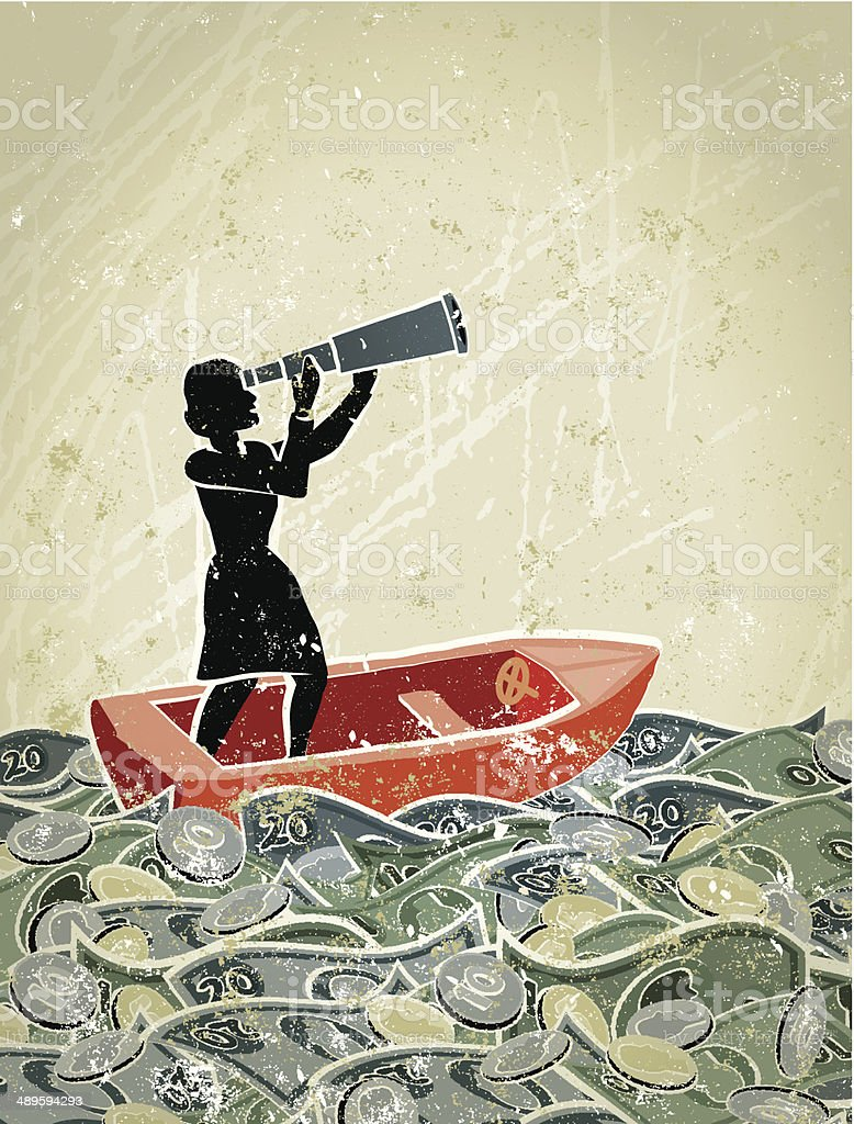 Retro,  Businesswoman Looking Through Telescope in a Sea of Money vector art illustration
